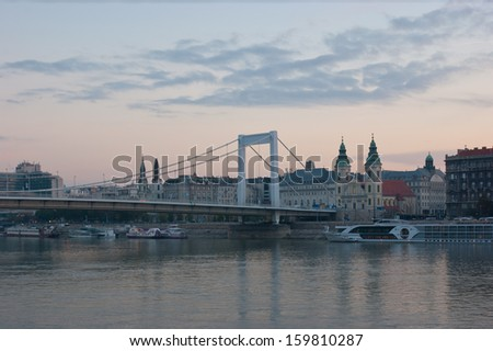 BUDAPEST, HUNGARY - OCTOBER 20, 2013: The morning sky over Danube river and Elisabeth Bridge, on October 20, 2013 in Budapest, Hungary.