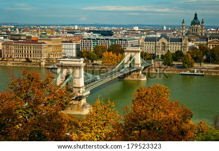 BUDAPEST, HUNGARY - OCTOBER 13, 2013: The river bank of Budapest, Hungary on 13 October, 2013. Budapest is the capital of Hungary.