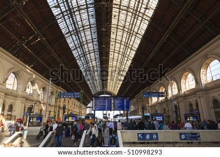 "BUDAPEST, HUNGARY - SEPT. 28, 2016: Interior of  ""Keleti""  Station in Budapest. Keleti is the Eastern railway station, was opened in 1884 and is among largest in Europe and it a World Heritage."