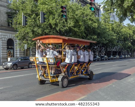 BUDAPEST, HUNGARY- SEPTEMBER 11 2016: Pedal bike in downtown of hungarian capital. The Beer Bike Budapest tour departs from the city centre.