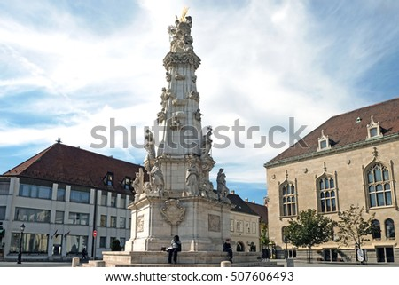 BUDAPEST, HUNGARY - SEPTEMBER 29, 2016: Plague column in the Trinity Square,in the Buda castle in Budapest