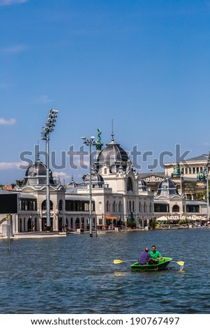 BUDAPEST - JULY 22: City Park (Varosliget) is a public park in Budapest, Hungary close to the city centre. Its main entrance is Heroes' Square (Hosok tere) on July 22, 2013 in Budapest.