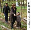 BUDAPEST-NOV5: Brad Pitt and Angelina Jolie and their children Zahara, Pax, and Shiloh enjoy an early evening visit to a park in Budapest, Hungary, on Friday, November 5, 2010. - stock photo
