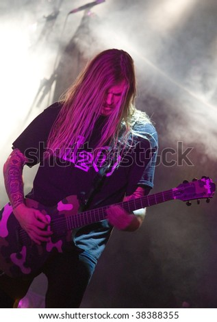 BUDAPEST - OCTOBER 02: Throwdown metal band performs on stage at Diesel club October 02, 2009 in Hungary