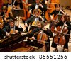 """BUDAPEST - SEPT 18: Magyar Radio Symphonic Orchestra perform on concert at """"Palace of Art"""" Budapest Sept 18, 2011 in Budapest, Hungary - stock photo"""