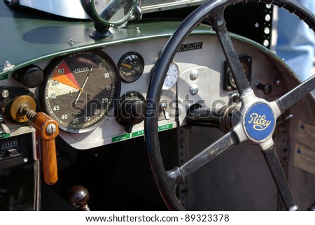 BUDAPEST-SEPTEMBER 17: Interior of classic British Riley racing car from 1930's at Velodrom Millenaris oldtimer show on September 17, 2011 at Velodrom arena in Budapest, Hungary