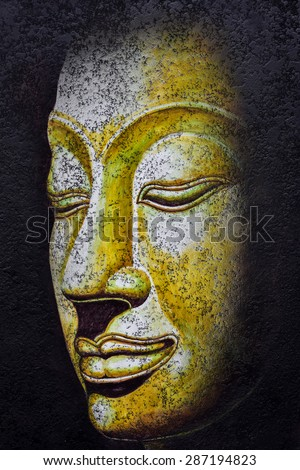 buddha face,acrylic painting on canvas