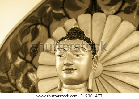 Buddha statue in tibet-indian style call 'Buddha Metta'  in temple of Bangkok ,Thailand golden vintage tone