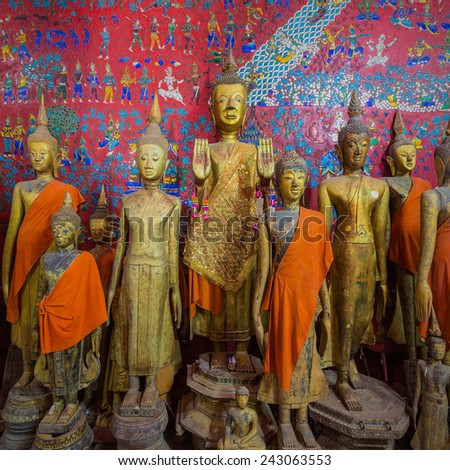 Buddha statues in Wat Xieng Thong in Luang Prabang , Laos ,South East Asia