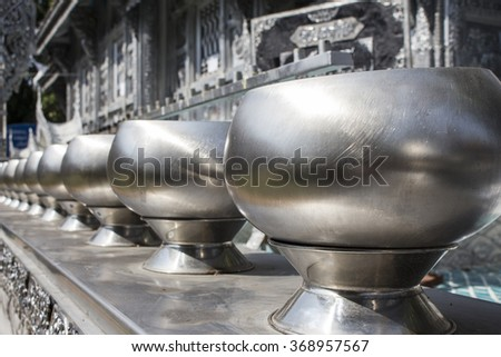 Buddhist silver pots at temple