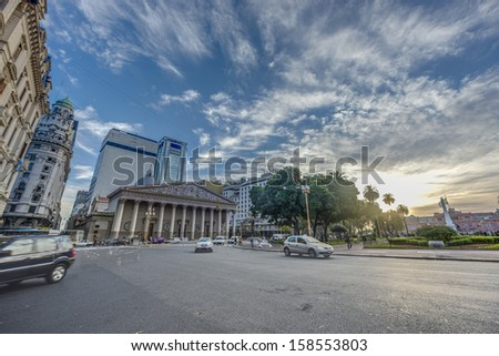 BUENOS AIRES, ARGENTINA - APR 12: People walking near Cathedral on Apr 12, 2013 in Buenos Aires, Argentina.