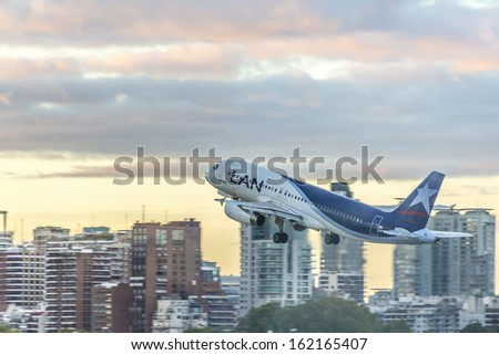 BUENOS AIRES, ARGENTINA - MAR 17: LAN plane taking off at Jorge Newbery Airport on Mar 17, 2013 in Buenos Aires, Argentina.