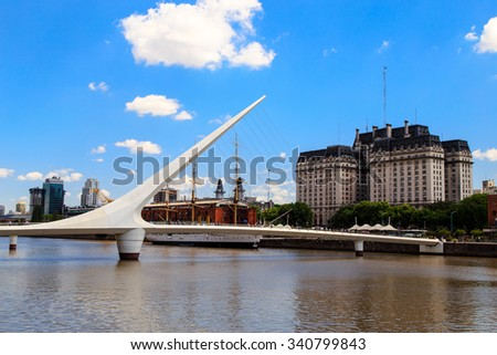 buenos aires cityscape, women's bridge in buenos aires, latin america