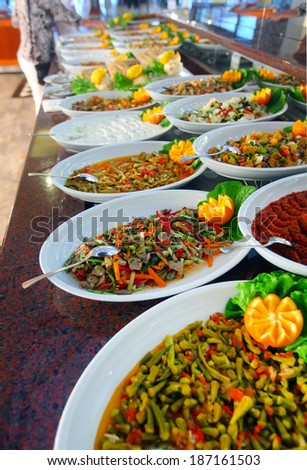 Buffet table full of delicious food