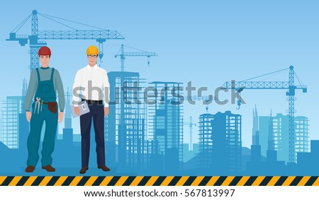architecture construction flat concept icons architect stock
