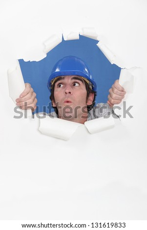 Builder realizing he has made a mistake