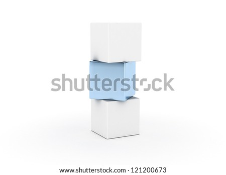 Building cubes single blue