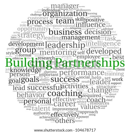 Building Partnerships concept in word tag cloud on white background