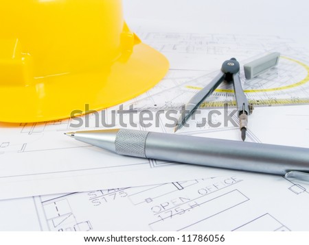 Building Projects Architect Drawing Protective Tools Stock