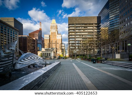 Buildings and plaza in downtown Baltimore, Maryland.