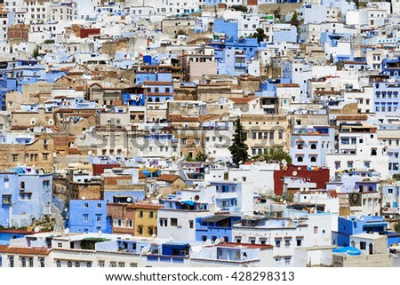 Buildings in the town of Chefchaouen, in Morocco