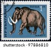 BULGARIA - CIRCA 1971: A stamp printed by BULGARIA shows mammoth, circa 1971 - stock photo