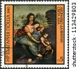 "BULGARIA - CIRCA 1980: A stamp printed in Bulgaria shows ""St. Anne"" by Leonardo da Vinci, circa 1980 - stock photo"