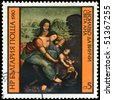 "BULGARIA - CIRCA 1980: A Stamp shows the fragment of the painting of Leonardo da Vinci ""Saint Anna"", circa 1980 - stock photo"