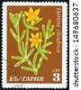 BULGARIA - CIRCA 1970: post stamp printed in Bulgaria shows image of hatiora cilindrica from cacti series, Scott catalog 1853 A745 3s green yellow brown white, circa 1970 - stock photo