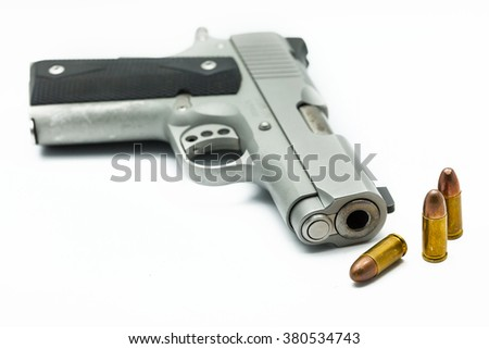 Bullets with the gun isolate background