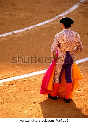 bullfighter waits for his turn