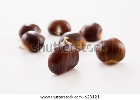 bunch of chestnuts on white