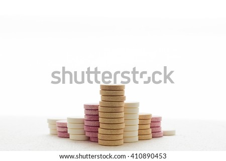 Bunch Of Effervescent Tablets Isolated on White Background