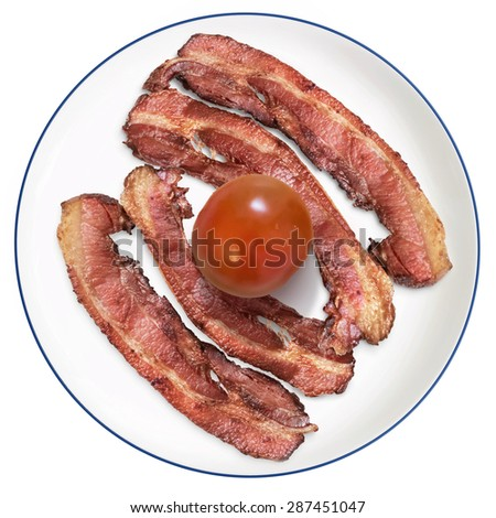 Bunch of Fried Belly Bacon Rashers, Garnished with Cherry Tomato, Offered on a blue rimmed White Porcelain Plate, Isolated on White Background.