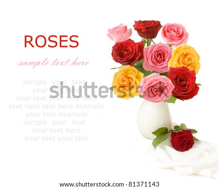 Bunch of red, pink and yellow roses in vase isolated on white with sample text