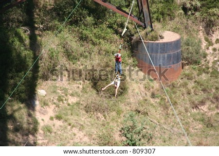 bungy jumping woman