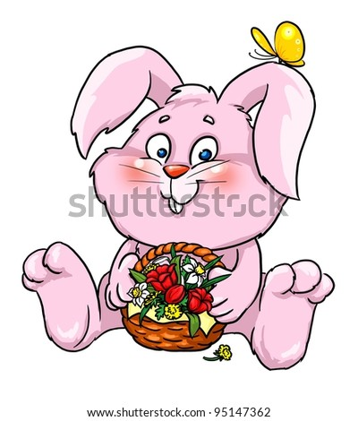 Bunny with flowers, spring, rabbit