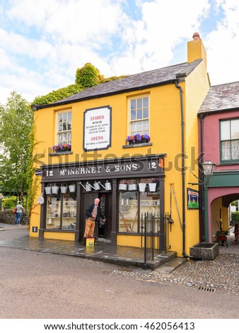 BUNRATTY, IRELAND - JULY 13, 2016: Shop in Bunratty  (End of the Raite river) is an authentic small village in County Clare, Ireland