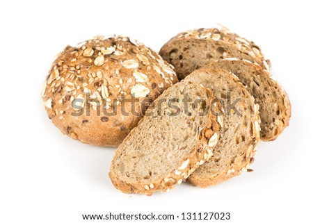 Buns with oats and sunflower isolated on white background
