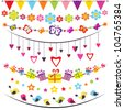 bunting and garland set. Raster version - stock photo