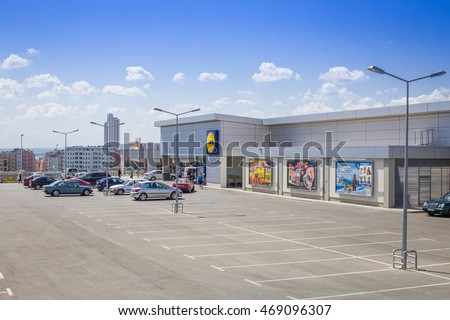 Burgas - July 26: Parking and build a Lidl store on July 26, 2016, Burgas, Bulgaria