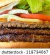 Burger macro shot - stock photo