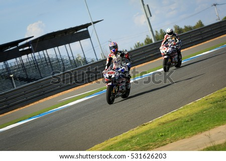 BURIRAM,THAILAND-MARCH 20:Thitipong Warokorn of Tingnote Racing Team after riding into the finish line at BRIC superbike championship at Chang International Circuit on NOVEMBER20,2016 in Thailand.