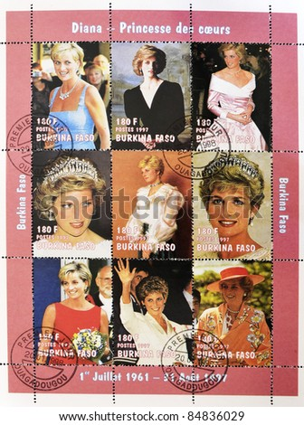 BURKINA FASO - CIRCA 1997: A stamp printed in Burkin Faso shows different images of Diana of Gales, serie, circa 1997