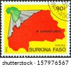 "BURKINA FASO - CIRCA 1985: A stamp printed in Burkina Faso from the ""National Symbols"" issue shows Maps of Africa and Burkina Faso, circa 1985.  - stock photo"