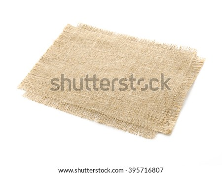 Burlap hessian sacking isolated on white background on the table.