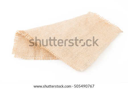 Burlap napkin isolated on white background. Top view.