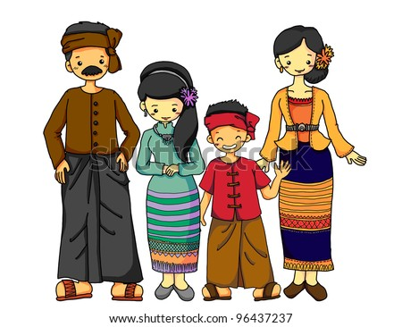 Burmese family in Burmese traditional costume