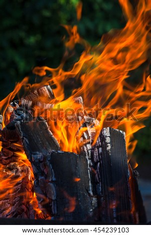 burning coals and flames background