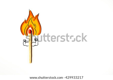 Burning match with orange fire light. Flat design style.Match icon. Flat vector related icon with long shadow for web and mobile applications.cartoon flaming torch.